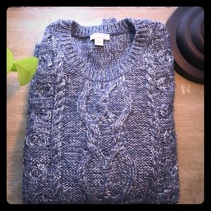 Gap Charcoal Metallic Cable Wool blend sweater